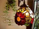 アンティーク調ステンドグラスペンダントランプ マーガレットフラワーS624 E17 灯具真鍮色 レト