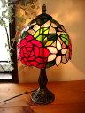 楽天selectstoreアンティーク調ステンドグラススタンドランプ 薔薇 ブラウン テーブルランプレトロ大正ロマン系卓上照明ガラスフロアランプバラ