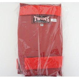 新 TWINS ツインズ 合皮製 キックボクシング レガース スネサポーター 赤 Mサイズ
