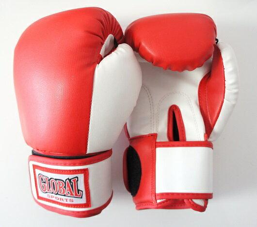 送料無料レディース&キッズグローブ女性子供用赤・白Mサイズ(高級レザー)ボクシングキックボクシング用