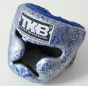 トップキング TOP KING キックボクシングヘッドガード ヘッドギア SNAKE 銀青 Sサイズ
