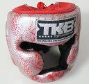 トップキング TOP KING キックボクシングヘッドガード ヘッドギア SNAKE 銀赤 Mサイズ