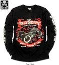 Tシャツ ロンT メンズ スカル/ドクロ 3輪 バイク メンズファッション トップス プリント
