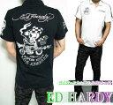 エドハーディー ed hardy エド・ハーディー 半袖 鹿の子 ポロシャツ 刺繍/プリント ライダー/スカル USA メンズ ドクロ ブラック/ホワイト 2カラー M-XL