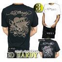 エドハーディー ed hardy エド・ハーディー 半袖 Tシャツ メンズ スタッズ/ラインストーン ラブキル スカル ブラック/ホワイト M-XL