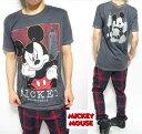 Tシャツ メンズ ミッキーマウス チャコール キャラク