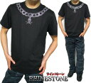 Tシャツ メンズ スカル/ドクロ ネックレス スタッズ/ラインストーン 半袖 トップス