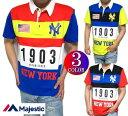 ヤンキース ポロシャツ メンズ マジェスティック/majestic 切り替え 半袖 ニューヨーク