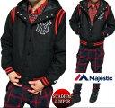 スタジャン ニューヨーク/ヤンキース パーカー スタジアムジャンパー フード メンズ マジェスティック/majestic ブラックXレッド M-XL