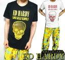 エドハーディー ed hardy エド・ハーディー 半袖 Tシャツ メタリック/スカルメンズ ドクロ ブラック/ホワイト L-XL