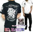 エドハーディー ed hardy エド・ハーディー 半袖 鹿の子 ポロシャツ 刺繍 USA/ライダー/スカル メンズ ドクロ ブラック/ホワイト M-XL