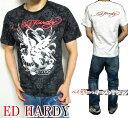 エドハーディー ed hardy エド・ハーディー 半袖 Tシャツ ペイズリー/総柄/イーグル メンズ ドクロ/スカル ブラック/ホワイト S-L