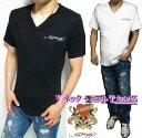 エドハーディー ed hardy エド・ハーディー ニット Tシャツ メンズ 半袖 刺繍ロゴ シンプル ニット Vネック ブラック/ホワイト M-XL