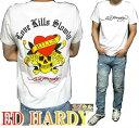 エドハーディー ed hardy エド・ハーディー 半袖 Tシャツ ラブキル/イエロー/デビル メンズ ドクロ スカル ホワイト M-XL