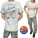エドハーディー ed hardy エド・ハーディー Tシャツ メンズ スカル/ドクロ/ラブキル ふちペイント 半袖 ブルー/オレンジ M-XL