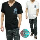 エドハーディー ed hardy エド・ハーディー Tシャツ メンズ Vネック 13 スカル/ドクロ 半袖 ブラック/ホワイト M-XL