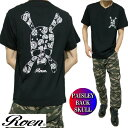 ROEN ロエン メンズ Tシャツ 半袖 スカル/ドクロ ペイズリー PPAISLEY BACK SKULL ブラック S-XL ROA-008