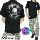Roen ロエン Tシャツ メンズ 半袖 スカル/ドクロ ホロクラム メタリックプリント ブラック ROA-004