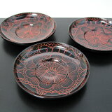 鮮やかな牡丹彫りの茶托 茶托 牡丹沈金 5枚 (木製 漆器 茶たく)