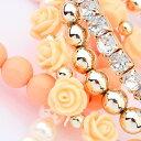 ショッピングローズ 数珠 ブレスレット ピンク パール ローズ バラ ゴールド CZダイヤ(キュービックジルコニア) 薔薇のお花がとっても可愛い レディース アクセサリー kh2