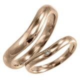 【】【楽ギフ包装】V字 ペアの指輪 オーダーメイドマリッジリングにも 一粒 ゴールドk18 天然ダイヤモンド 約0.02ct 4月誕生石 (ホワイトゴールド イエローゴールド ピンクゴールド)
