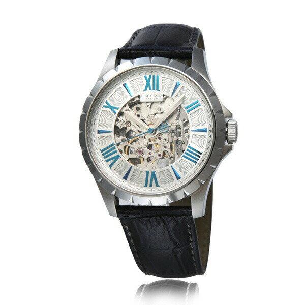 フルボ デザイン F5021SSIBL/538622 Furbo design F5021 オートマチック 自動巻 シルバー レザーベルト メンズ腕時計 セール 人気の機械式時計 フルボ 腕時計 正規品