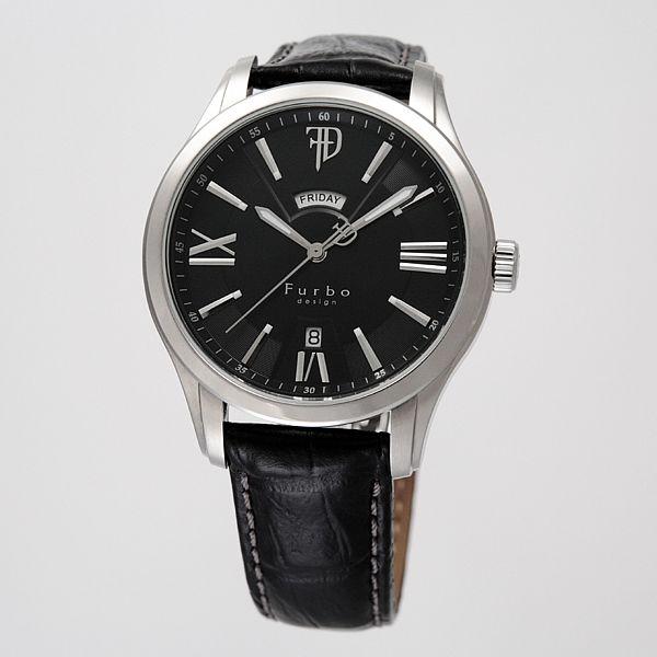 フルボ デザイン F5024SBKBK/191916 Furbo design F5024 オートマチック 自動巻 ブラック レザーベルト メンズ腕時計 セール 人気の機械式時計 フルボ 腕時計 正規品