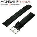 モンディーン MONDAINE FE3118.22Q 腕時計 純正 替えベルト黒レザー 羊皮 裏地レッド 18mm幅 尾錠ツヤ有り バネ棒別売