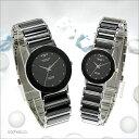 ペアウォッチ テクノス TECHNOS クォーツ ペア腕時計 セラミック ラウンド ブラックメンズ+ブラックレディース TBM674TB×TBL726TB