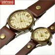 ペアウオッチ 手作り腕時計 ヴィー vie クォーツ [電池式] 英字文字盤 WB-048-BR-P1 [M+Sサイズ] ペア腕時計