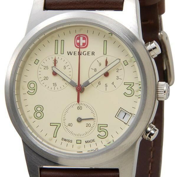 ウェンガー 腕時計 72951 海外モデル フィールドクロノ アイボリー×カーキ メンズ [SB] 【長期保証3年付】 【57%OFF】 人気のミリタリーウォッチ! ラッピング無料くわしい