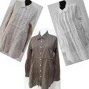 綿100%長袖ロングブラウス(ブラウン色)サイズ40・42・44(ワールド)