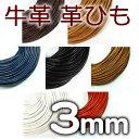 革ひも 牛革 革紐 3mm 丸紐 1m単位 測り売り 皮紐 かわひも 3.0mm レザーコード 【ゆうパケット可】