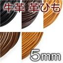 革ひも 牛革 革紐 5mm 丸紐 1m単位 測り売り 皮紐 かわひも 5.0mm レザーコード 【ゆうパケット可】