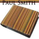 ポールスミス Paul Smith ヴィンテージマルチストライプ 牛革 二つ折り財布 メンズ