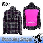 ダンスウィズドラゴン / DANCE WITH DRAGON (秋冬モデル!)チェックジャージデザインジップアップ(メンズ)ダンスウィズドラゴン/送料無料!ゴルフウェア/ダンス ウィズ ドラゴン/14