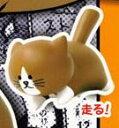 【カプセル】 ウッドブック 猫のぽんたマスコット ●走る!【単品】
