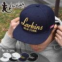LARKINS ラーキンス アクリル 刺繍 ロゴ ニューヨーク ベースボールキャップ/BBキャップ ストレートキャップ ベースボール ロゴキャップ フラットバイザー 平つば 6パネル キャップ 帽子 CAP ストリート系 かっこいい おしゃれ トカゲ NY NEW YORK シンプル ブランド