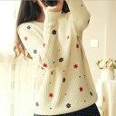 ニットセーター 森ガール 2色 レディース セーター 刺繍 かわいい トップス長袖 セーター 大きいサイズ ゆったり着心地 学生 秋 冬