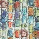 【サンドウ限定復刻色】リバティプリント タナローン生地(Ian Rhodes イアン・ローズ)イエロー&ブルーグリーン【3631162】
