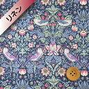 リバティプリント【フランダースリネン】34(Strawberry Thief ブルー&ピンク)ストロ