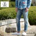 ジャパンブルージーンズ JAPAN BLUE JEANS メンズ スリム テーパードデニム「10oz CALIF DENIM 10oz カリフ ストレッチ ダメージリペア デニムパンツ」アイスウォッシュ JB2300 サンセット (SS) 日本製【RCP】