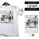 【+graph】グラフィックTシャツ 戦争反対 メンズ 春夏秋冬用 コットン100% 白/茶色 M-