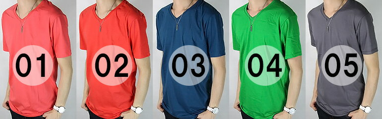 カラー無地Tシャツ 5カラー Vネック 4.4...の紹介画像2