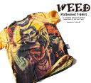 ショッピング古着 WEED シワ加工 和柄 デザインTシャツ BUDDHA 菩薩【デザインTシャツ クシャクシャ加工 イラストTシャツ メンズ 和柄Tシャツ 半袖Tシャツ 夏 ストリート系Tシャツ ユーズド風 古着風】weed011