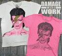 ★メール便送料無料★ダメージロックTシャツ デヴィッド ボウイ David Bowie デビットボーイ【ROCK ロックTシャツ band バンドTシャツ クラッシュTシャツ T-SHIRTS 古着】wrk002 10P03Dec16