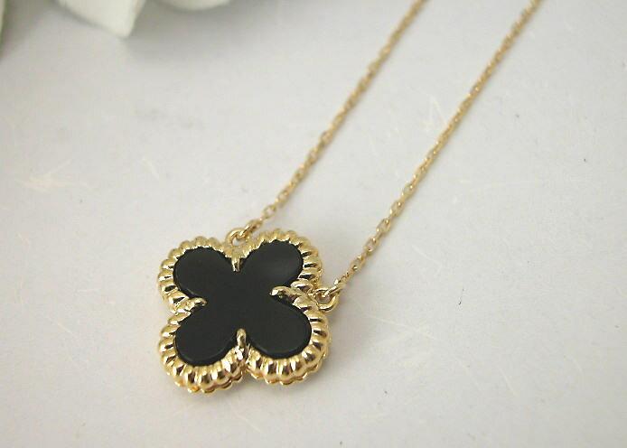 K18 オニキスフラワー design pendant necklace