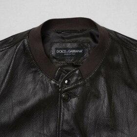 Dolce&GabbanaD&G/ドルガバ/ドルチェ&ガッバーナメンズジャケットブルゾンイタリア製ダークブラウンレザーパンチングレザープレゼントギフトbdolc07