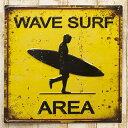 メタルプレート ブリキプレート スクエア エンボスプレート Wave Surf アンティーク雑貨 アメリカン雑貨 レトロ雑貨 看板 シャビー 鉄 Tin