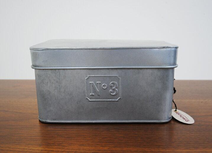 ナンバー付きブリキボックス 蓋付き ブリキ収納 ヴィンテージ調 インテリア インダストリアル 塩系インテリア インテリア 小物入れ 巾260・奥160・高130 (mm)